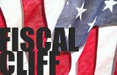 fiscal cliff words on USA flag