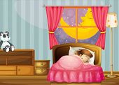 illustration of a sleeping girl in her bedroom