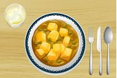 pic of paneer  - Illustration of a Indian food on a wooden table - JPG