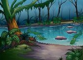 Abbildung der Krokodile in einem Fluss im Dschungel