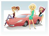 Three Chicks And Sport Car