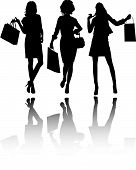 image of street-walker  - Beautiful shopping girls with bags vector silhouettes - JPG