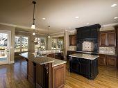 Luxury Center Island Kitchen With View