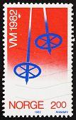 Postage stamp Norway 1982 Ski Pole