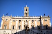 Palazzo Senatorio and Statue of Marcus Aurelius at Capitoline Hill. Roma (Rome), Italy