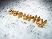Security concept: golden security on digital background