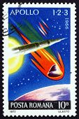Postage stamp Romania 1972 Apollo 1, 2 and 3