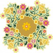 Vector circle ornament in vintage style.