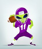 Cartoon Character Funny Alien Isolated on Grey Gradient Background. Rugby. Vector EPS 10.