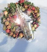 Alto Sax and Christmas Wreath in the Snow v3