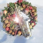 Alto Sax and Christmas Wreath in the Snow
