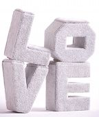 Big letters of love on a white
