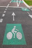stock photo of segregation  - Segregated bicycle only tracks with dual lanes - JPG