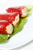 foto of piquillo pepper  - Piquillo peppers stuffed with cod and mushrooms