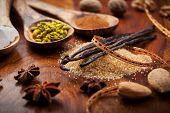 Assortment of aromatic food ingredients for baking