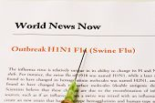 foto of swine flu  - Headline of paper about flu virus with syringe - JPG
