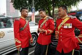 KUALA LUMPUR - AUGUST 31: Troopers from the Armor Corp in ceremonial uniform take a break from duty