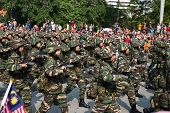 KUALA LUMPUR - AUGUST 31: Women infantry soldiers from the Malaysian Armed Forces march on the city