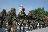 KUALA LUMPUR - AUGUST 31: Snipers and Recce scouts from the 10th Airborne Brigade parade on the city