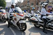KUALA LUMPUR - AUGUST 31: Police outriders in super bikes parade on the city streets as they celebra