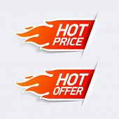Hot price and hot offer symbols. Vector.