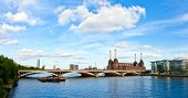 Panoramic view of Grosvenor Bridge with abandonded Battersea power station in London
