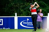 NORTON, MA-SEP 1: Henrik Stenson tees off the fifth hole during the third round at the Deutsche Bank