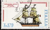 ITALY - CIRCA 1978: a stamp printed in Italy shows image of  Brigantino Ligure Fortuna (Luck Liguria