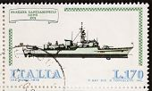 ITALY -CIRCA 1978: a stamp printed in Italy shows image of  Rocket Launcher Frigate Lupo (Italian Na