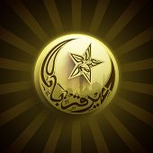 Arabic Islamic calligraphy of text Eid Al Azha or Eid Al Adha on shiny brown rays background for Mus