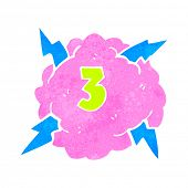 retro cartoon thundercloud symbol with number three
