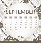 2014 calendar, vintage calendar template for September. Vector illustration.