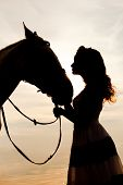 stock photo of cowgirls  - Beautiful woman on a horse - JPG