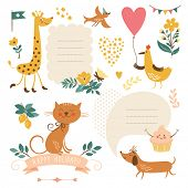 Set of animals illustrations and graphic elements for invitation cards, party invitation, holiday gifts
