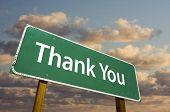picture of thank-you  - Thank You Green Road Sign with dramatic clouds and sky - JPG
