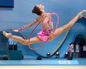 KIEV, UKRAINE - AUGUST 28: Neta Rivkin of Israel in action during the 32nd Rhythmic Gymnastics World Championships in Kiev, Ukraine on August 28, 2013