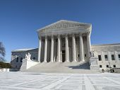 Supreme court building exterior in Washington DC, USA.