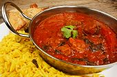 Beef Rogan Josh In Balti Dish With Rice