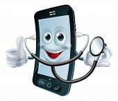 Cartoon Phone Character Holding A Stethoscope