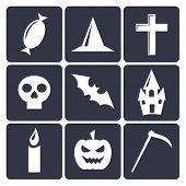 Halloween flat vector icons set 1