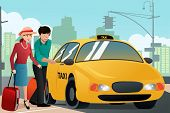 stock photo of cabs  - A vector illustration of couple of tourists calling a taxi cab - JPG