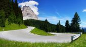 Dolomites  landscape with mountain road.