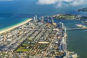 Aerial Of Town And Beach Of Miami
