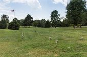 picture of civil war flags  - This is the burial ground for Union soldiers that fell in the several Civil War battles in the area - JPG