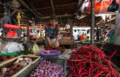 PADANG - AUGUST 25: A vendor grinds up fresh chili, pepper and spices for sale at her stall at an outdoor village market in Padang, West Sumatera, Indonesia on August 25, 2013.