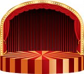 vector circle circus or theater stage with red curtain