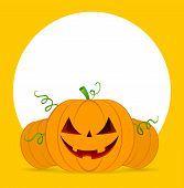 foto of funny ghost  - Vector illustration of Halloween pumpkins on orange background - JPG