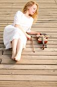 The Blonde Girl With A Violin Outdoor