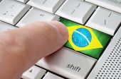 Business Concept Male Finger Pressing Brazil Enter Key