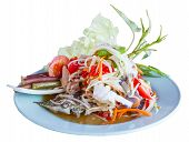 Thai Papaya Spicy Salad Or Som Tum With Blue Crab